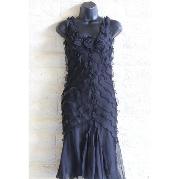 Max Studio Dresses & Skirts - Max Studio | 100% silk rose ruffle black dress NWT